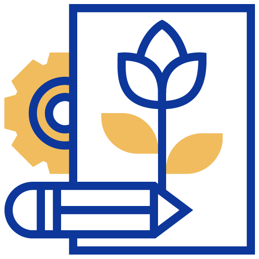 Gear, pencil and flower icon