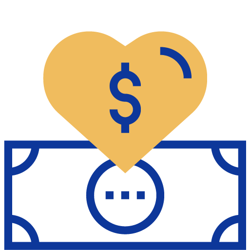 Heart and dollar icon
