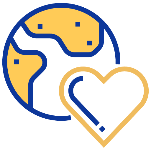 Earth and heart icon
